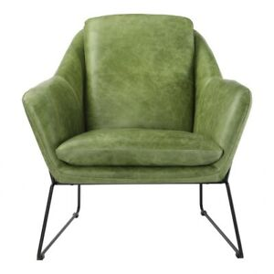 """29"""" W Club Chair Green Top Grain Leather Fully Upholstered Seat Iron Frame"""