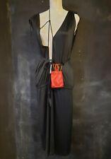 leather mini handbag red logo stamp drawstring belt bag pouch clutch coin purse