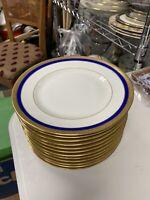 Bernardaud Limoges Ber35 Cobalt Blue Gold Salad Plate Set Of 12