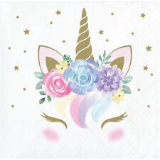 16 x Pretty Unicorn Party Paper Beverage Napkins Girls Birthday | Baby Shower