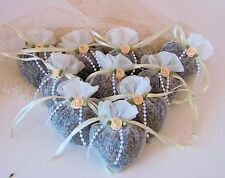 Hand Crafted Ivory Sachets,Organic Lavender Buds,in Heart shaped Organza Bags