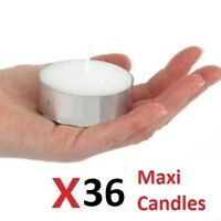 36x Large TEA LIGHT CANDLES Maxi 10HRS HOME PACK OF 36 UNSCENTED 10 HRS CANDLES