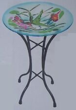 "Bird Feeder Bath Hummingbird Glass with metal stand NEW 11 1/2"" in diameter"