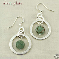 Far Fetched Silver Hammered Hoop Dangle Earrings Green Turquoise Bead Gift Boxed