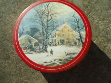 Round Red Tin with Winter Farm House on the Front 7 ¼ Inches Diameter X 2 ¾ Inch