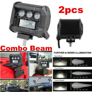 2x 4in 80W LED Work Light SPOT&FLOOD Lamp Tractor ATV OffRoad Driving Waterproof