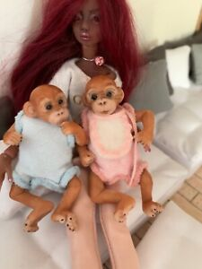 1/12 dolls house adorable baby monkey twins  ooak