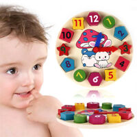 Wooden Colorful Clock Puzzle Toy 12 Number Block Child Baby  Educational Toy3C