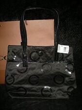 New w tag Coach Black dull satin w sequins C w patent leather medium sz bag