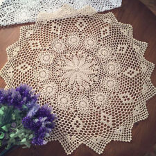 """Vintage Hand Crochet Lace Doily Table Topper Round Beige TableCloth Cover 27-29"""""""