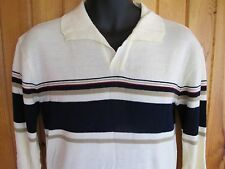 Vintage Gap Sweater Men's Large 1970's Early Label Collared Striped L White Polo