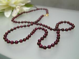 Vintage top quality 4mm natural Garnet hand knotted Necklace 14k gold clasp