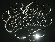 """9"""" x 7"""" clear Merry Christmas rhinestone iron on transfer applique decal patch"""