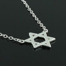 Sterling Silver Womens Jewish Star of David Pendant Necklace