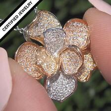 Certified Fancy Yellow Pink & White Diamond Pendant Necklace 14k Gold 0.75 TCW