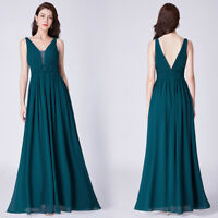 Ever-Pretty US Formal Evening A Line Prom Gowns V Neck Long Bridesmaid Dresses