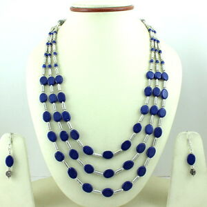 Necklace earrings lapis lazuli gemstone oval beaded handmade charming jewelry
