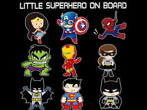 Little Super Hero Baby On Board Waterproof Vinyl Car Window Sticker Free UK P&P