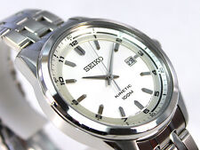 Seiko Kinetic Gents Elegant Dress Watch 100m Silver Dial SKA629P1 UK Seller