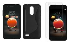 BLACK S-LINE TPU CASE+ CLEAR SCREEN PROTECTOR FOR LG ARISTO 2