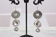 Dangle Earrings Fashion 7656B Silver Tone 3 Tier Disc