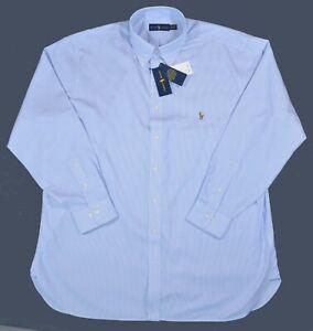 New 2XL TALL 18 36/37 RALPH LAUREN Mens button down Dress Shirt Blue white top