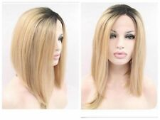 Short Straight Ombre Blonde Bob Hair Dark Roots Synthetic Side Part Wig Two Tone