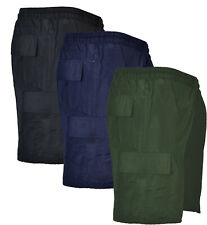 Mens BIG SIZE Plain Cargo Shorts Summer Cotton 2-5XL