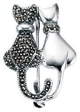 Elements 925 Sterling Silver Vintage Style Marcasite Black & White Cats Brooch