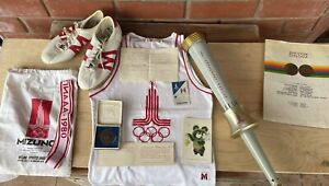 Olympic Games Moscow 1980 official torch,uniform,medal and supporting documents