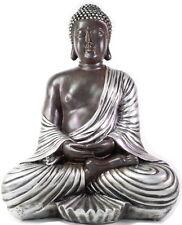 Feng Shui 17'' Large Silver Kasaya Buddha Dhyani Mudra Home Decor Peace Statues