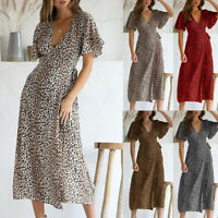 Fashion Women Leopard Print V Neck Party Dress Lady Short Sleeve Midi Maxi Dress