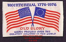 LMH PATCH Woven Badge  OLD GLORY FLAG Waves 1776 1976 AMERICA BICENTENNIAL 3.75""