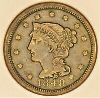 1848 Braided Hair Large Cent; VF; N-10, R-3
