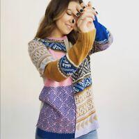 Sundance Patchwork Fields Of Fair Sweater Women's Size XS