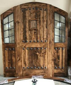 Rustic ALDER solid lumber eyebrow arch glass double door speakeasy wrought iron