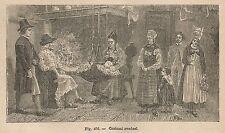 A2250 Costumi della Svezia - Xilografia - Stampa Antica del 1895 - Engraving