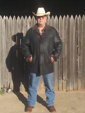 MENS SHEARLING SHEEPSKIN LEATHER COAT JACKET ANDREW MARC NY XL BLACK EUC