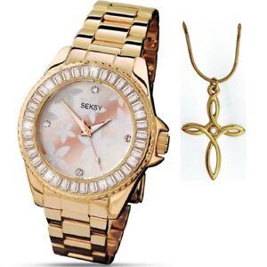 Seksy by Sekonda Floral Dial Gold Bracelet Ladies Watch & Pendant Gift Set 4655P