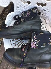 Doc Marten Rare Aimilita 9hole Charcoal/floral Leather Boots Uk8/42 Stunning