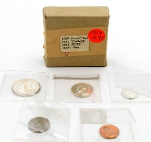 1954 U.S. MINT PROOF SET U.S. COINS ORIGINAL MINT BOX  NO RESERVE #CSB15 LF