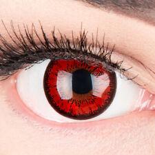 Farbige rote Kontaktlinsen mit ohne Stärke rot schwarz Fasching Kostüm Halloween