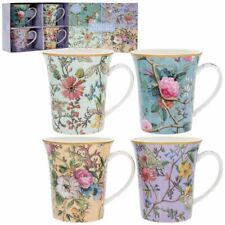 Gift Boxed Set of 4 Fine China William Kilburn Mugs - Assorted Floral Fluted