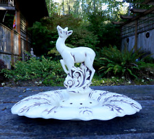 """Vintage Red Wing Pottery Deer Centerpiece Bowl 16.5"""" Wide Bowl 10"""" Greenery Frog"""