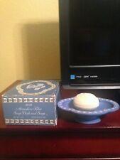 Avon Avonshire Blue Pedestal Soap Dish & Round Soap - Rare - 1972