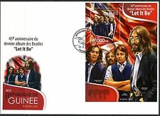 """GUINEA  2015 THE BEATLES 45th ANNIVERSARY  OF """"LET IT BE""""   SOUVENIR SHEET  FDC"""