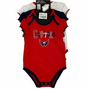 Washington Capitals NHL 3-Pack Toddler Girl Baby Bodysuits Size 18M 18 Months