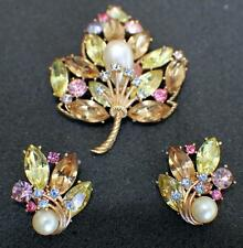 ABSOLUTELY GORGEOUS VINTAGE SIGNED TRIFARI CLIP-ON EARRINGS& BROOCH LATE 50s #14