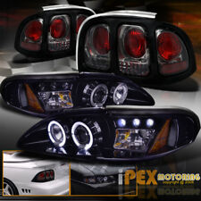 1994-1998 Ford Mustang Halo Projector Shiny Black Headlight + Smoke Tail Light