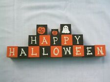 17 HAPPY HALLOWEEN BLOCKS Wood Painted Holiday Decor